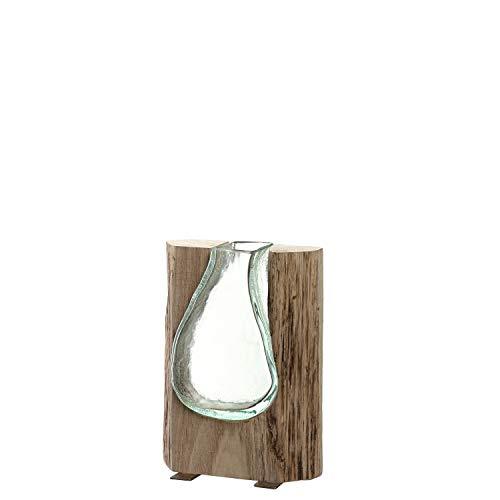 LEONARDO HOME Vase Casolare, Höhe 20 cm, Moderne Glasvase mit Holz, Deko-Vase, Blumenvase, Tischvase, Handmade, 038508