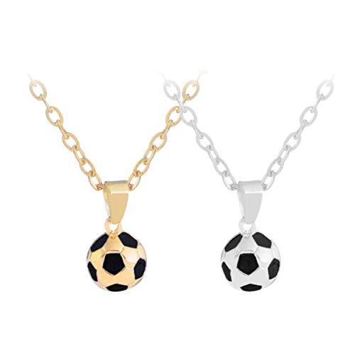 Holibanna 2 Stück Fußball Halskette Fußball Schmuck Geschenk Fußballspieler Fußball Weltmeisterschaft 2020 WM Geschenk für Männer Gold Und Silber