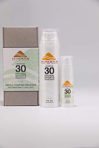 HIMAYA Bio Sonnenschutz (SPF 30, Pack 200ml) |Wasserfeste Schweißfeste | Nachfüllbar | Sport Sonnencreme | Nicht Nano Zink | Natürliche Inhaltsstoffe Riffsicher UVA /B Schutz | Umweltfreundliche