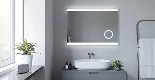 AQUABATOS 100x70 cm Badspiegel mit Beleuchtung Badezimmerspiegel LED Lichtspiegel Wandspiegel. Touch-Schalter Dimmbar, Schminkspiegel, Kaltweiß 6400K, Warmweiß 3000K, Spiegelheizung, IP44, CE