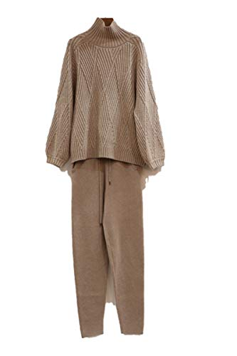 MY.BESTB Weibliche High Collar Laterne Ärmel Nerz Kaschmir Strickoberteile + Wolle Hose Sets Light tan M
