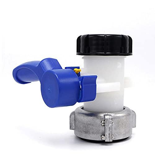 EUNEWR Der Absperrklappe des IBC-BehäLters, PE-Ventil Wassertankschlauchanschluss Auslass Wasserhahn Adapter FüR Wassertank Ablasshahn,Regentonne,Kanister (62mm)