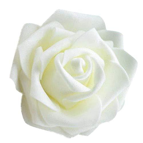 Generic 50x Schaumköpfe Blumenköpfe Kunstblumen Brautstrauß Haus Dekor Rosen - Creme