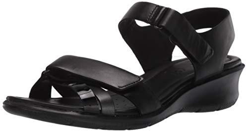 ECCO FELICIASANDAL, Sandali con Cinturino alla Caviglia Donna, Nero (Black/Black Dark Shadow Metallic/Black 52034), 38 EU