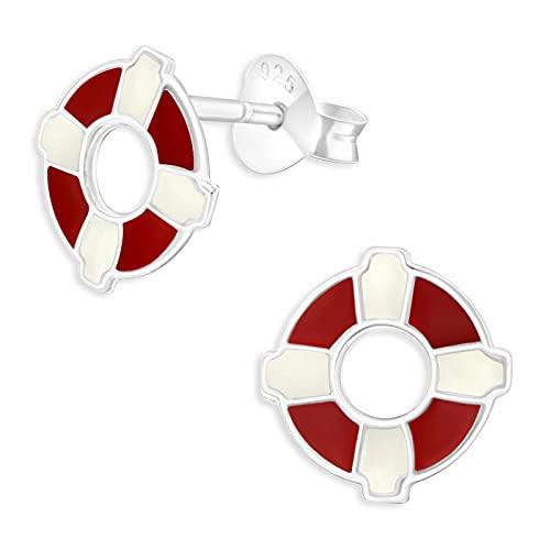 Monkimau Kinderohrringe Rettungsring Ohrstecker aus 925 Sterling Silber rot weiß emailliert