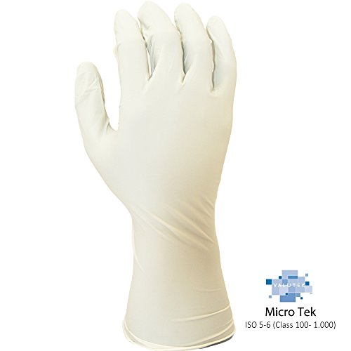 Valutek VTGNPFB12-L Nitrile ESD Cleanroom Gloves [Ambidextrous, 12in beaded cuff, Powder Free, White] 100 gloves, Large