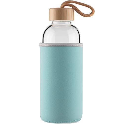 Cleesmil Botella de Agua de Cristal 750 ml Botella de Agua de Vidrio Deportiva con Funda de Neopreno y Tapa de Bambú sin BPA (Cian)