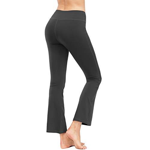 HMIYA Bootcut Yogahose, Flare Hose Fitness Joga Sporthose Damen(Tasche/Dunkelgrau,L)