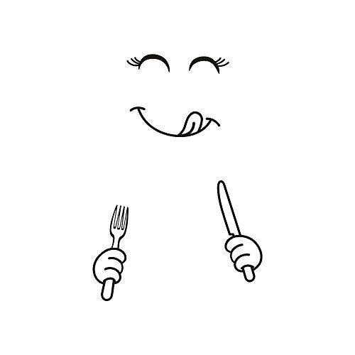 WHSHINE Wandaufkleber Netter Aufkleber Kühlschrank Happy Delicious Gesicht Küche Kühlschrank Smiley-Gesicht Aufkleber Kunst Wohnkultur Wandbild Decals Schlafzimmer Wohnzimmer (55cm x 72cm, Schwarz B)