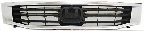 Grille Assembly Compatible with 2008-2010 Honda Accord ABS Plastic Chrome Shell/Paintable Insert Sedan