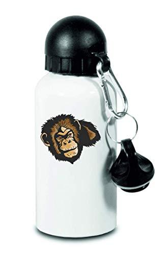 Drucklebnis24 Botella – mono cabeza salvaje – para niños, escuela, deporte, fitness – Botella de agua fina de aluminio, color Blanco, tamaño 500 ml
