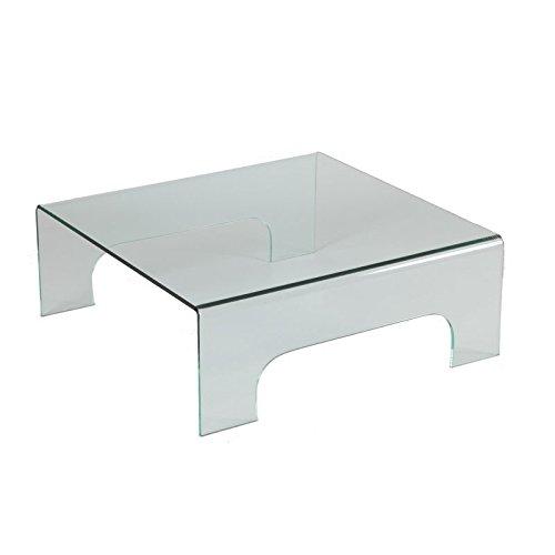 Tousmesmeubles Table Basse carrée en Verre sur Pieds - Clean - L 90 x l 90 x H 33 - Neuf