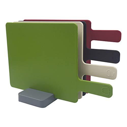 Crown Baccara Juego de tablas multi color para picar con base, Plástico 5 piezas - PYLAR