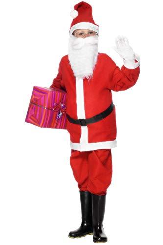 Smiffys Kinder Jungen Weihnachtsmann Kostüm, Jacke, Hose, Mütze und Gürtel, Größe: L, 21478