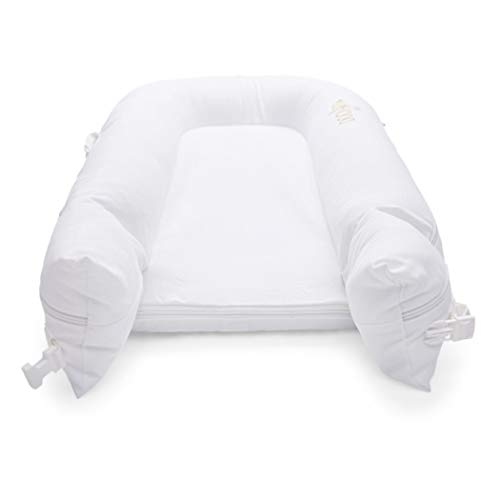 DockATot Deluxe+ Dock - The All in One Portable & Lightweight Baby Lounger - Suitable from 0-8 Months (Pristine White)