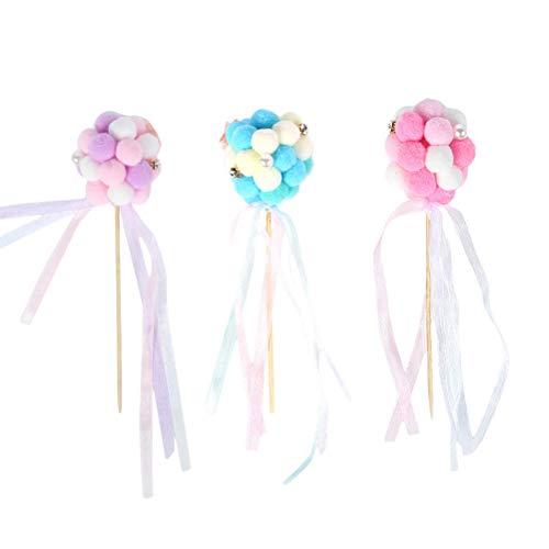 BESTOYARD 3 STKS Glitter Dromerige Haarbal Taart Toppers Ballerina Cupcake Picks voor Meisjes Verjaardag Thema Party Decoratie (Pink + Blauw + Paars)