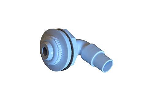 SPIRATO Einlaufdüse für Stahlwandbecken Einströmdüse weiß mit Winkelanschluss 32-38mm