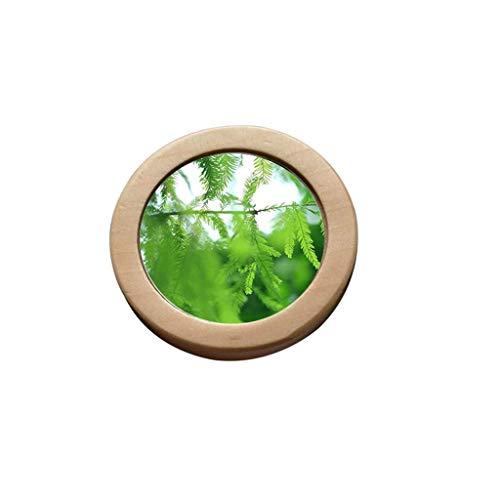 Decorative mirror-QFF Olid bois Miroir rond, Mini Palm Lipstick Mirror Fille Voyage d'affaires Jouer Portable Beauté Miroir de maquillage Miroir côté poche unique 6.9 * 6.9 * 1cm Miroir