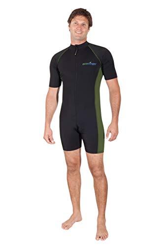 EcoStinger Adults Sunsuit +Pocket UV Protection Swimwear UPF50+ Chlorine Resistant Black Military L