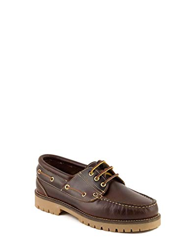 PAYMA - Zapatos Nauticos Timber de Piel Seahorse Engrasada 3-Ojales. Piso Caramelo, Negro o Goma Track. Cierre Cordones o Velcro. Colores Marrón, Azul o Negro