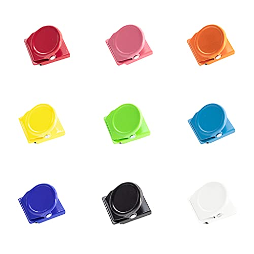PHILSP Wielofunkcyjne kolorowe magnetyczne notatki zacisk spinacze do papieru 12 arkuszy pojemność do lodówki tablicy suchościeralnej drzwi ścienne losowy