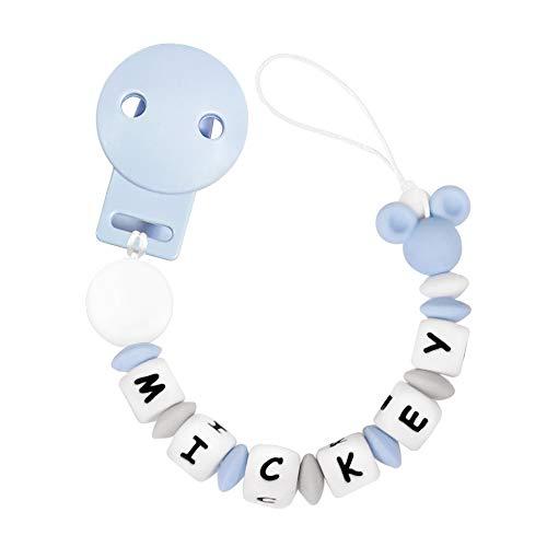 RUBY - Chupetero Personalizado para Bebe con Nombre Bola Silicona Antibacteriana con Pinza de Plástico, Chupetero Mickey (Azul Pastel)