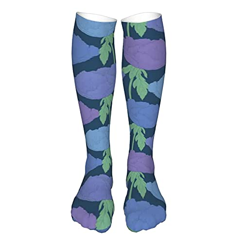 Soft Mid Calf Length Socks,Plant Paeonia Arborea Tree Peony With Stem And Leaves Blue Backdrop,Socks for Men Women