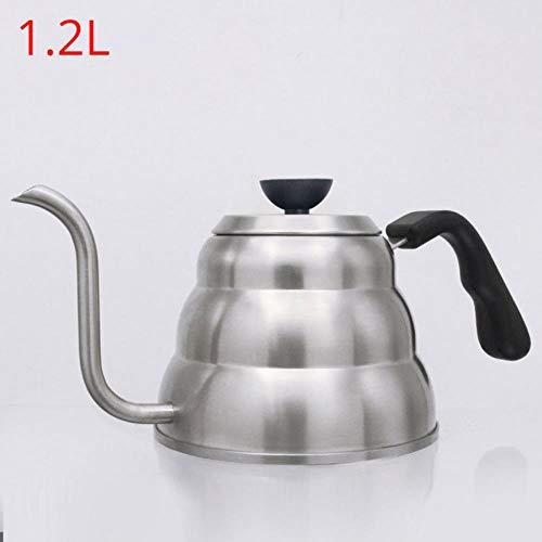 Roestvrijstalen giet koffiepotten Waterkoker Koffiezetapparaat Karaffen Met thermometer, exacte temperatuur en zwanenhalsuitloop - 1 & 1,2 liter theepot, 1,2 liter zonder thermometer