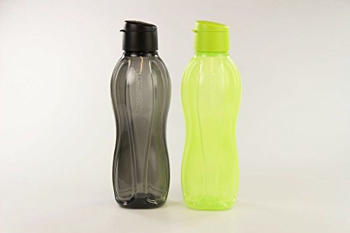 TUPPERWARE To Go Eco 1 L zwart 1 L limoen drinkfles eco-fles 26788