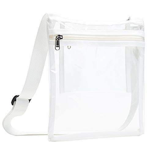 Vorspack TPU Clear Cross-Body Purse NFL Stadium Approves Clear Bag with Inner Pocket and Adjustable Strap for Sports Event Concert Festival - White