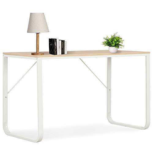 Cikonielf - Escritorio para ordenador o escritorio, estilo industrial, oficina, oficina, estación de trabajo, PC, madera y metal, estable, blanco y roble, 120 x 60 x 73 cm