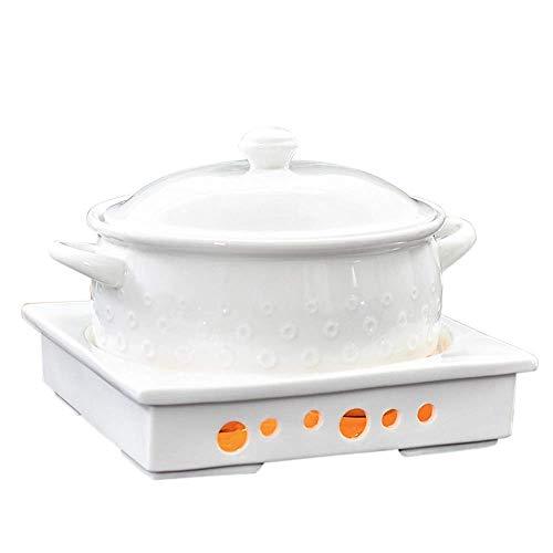 Casserole Pot de 2.5 cuartas cuartos de cazuela de buffet, cerámica, chafer con candelero, conjunto de calentadores de alimentos, tienda de alimentos, cerámica, para brunch de fiesta Eventos de cateri