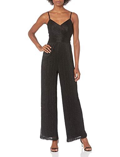 Eliza J Women's Ruched Wide Leg Jumpsuit Dresses, Black, 6
