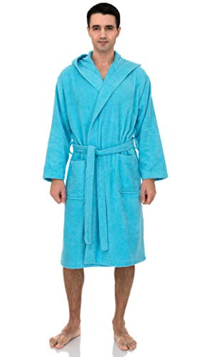 Albornoz de algodón turco de algodón de rizo para hombre de la marca Toallas Selections, Azul Río, Small