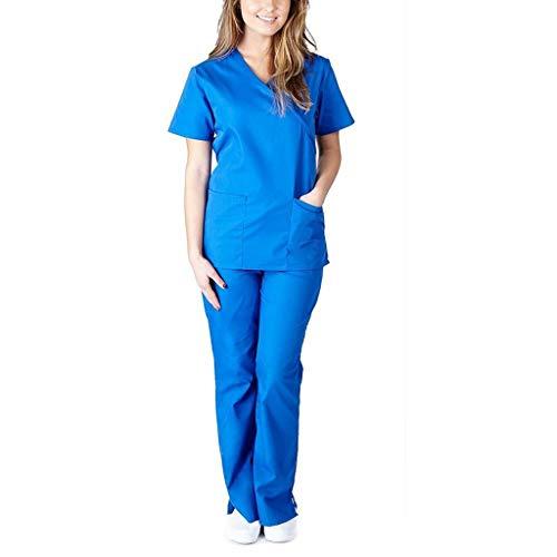 Smony Damen Gesundheits-Kasack Uniform, Männer Kurzarm V-Ausschnitt Tops + Hosen Stillen Arbeitsuniform Set Anzug, Arbeitskleidung, Medizinische Ärzte Unisex 2 Taschen Top Krankenhaus Arbeitskleidung, - Blau C - Größe: Large
