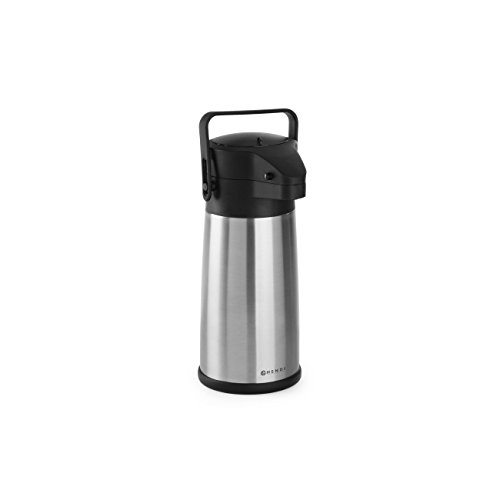 HENDI Pumpkanne, Isolierkanne, mit Pumpsystem, Kaffekanne, Termoskanne, Teekanne, 2,2L, Edelstahl, Polypropylen, ø150x(H)340mm
