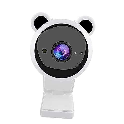 IPOTCH Webcam mit Mikrofon USB-Webkamera für Video Live-Streaming Konferenz Gaming Videoanrufe Aufnahme Rauschunterdrückung PC-Kamera - Weiß