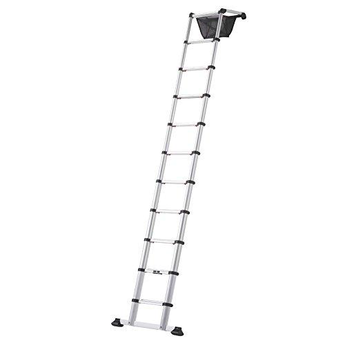 Hymer 801313telescópico de aluminio escalera de zoom Master 13peldaños extensible hasta 4,05M, altura regulable en 280mm pasos de 801313