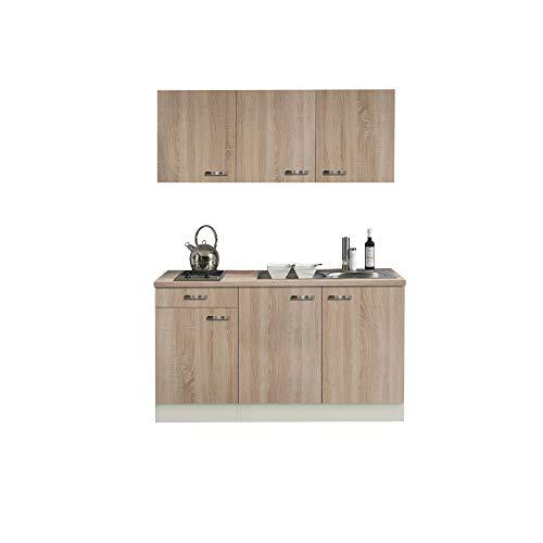 Singleküche TOLEDO - Miniküche mit Glaskeramik-Kochfeld und Spüle - Breite 150 cm - Eiche Sägerau/Champagner