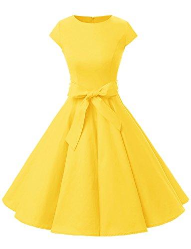 Dressystar Damen Vintage 50er Cap Sleeves Dot Einfarbig Rockabilly Swing Kleider Gelb L
