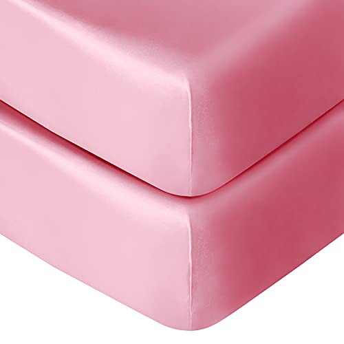 NTBAY 2 Pack Satin Fitted Crib Sheets, Super Soft and Silky Solid Color Toddler Sheets, 28 x 52 Inches, Pink