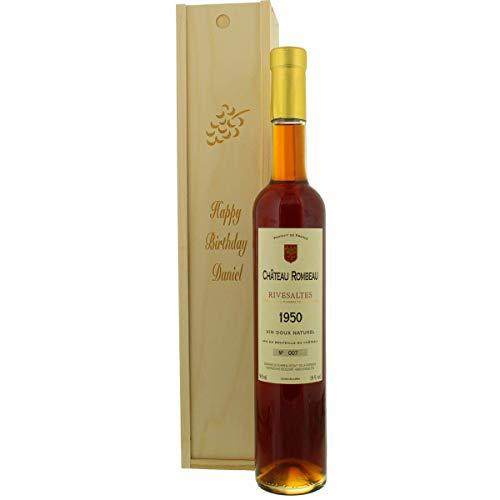 Jahrgangswein als Geschenkidee - Rivesaltes Château Rombeau in Holz-Kiste mit Ihrer persönlichen Laser-Gravur (1981)