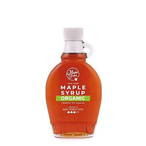 MapleFarm - Puro sciroppo d'acero Canadese BIO Grado A (Dark, Robust taste) - 250 ml (330 g) - Original maple syrup - Puro succo d'acero BIOLOGICO