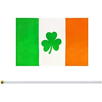 "IRELAND SHAMROCK Handwaving Flag 9/"" x 6/"" Polyester Flag 12/"" Wooden Pole"