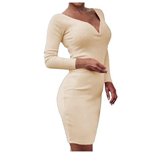 Briskorry Etuikleid für Damen Sexy einfarbiges figurbetontes Kleid V-Ausschnitt Langarm Enges Kleid Elegantes Partykleid Cocktailkleid Club-Kleid