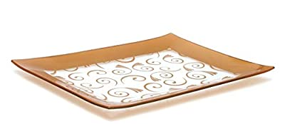 GAC Tempered Glass Tray Rectangular Glass Platter Break and Chip Resistant - Oven Safe - Microwave Safe - Dishwasher Safe - Stackable Decorative Plate and Glass Serving Tray