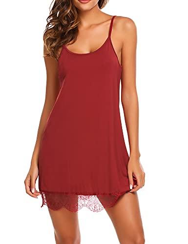 ADOME Sexy Babydoll Negligee Nachtwäsche Nachthemd Nachtkleid Sleepwear Kleid Lingerie Dessous Set mit Wickeloptik für Damen mit String (Large, Vermilion)