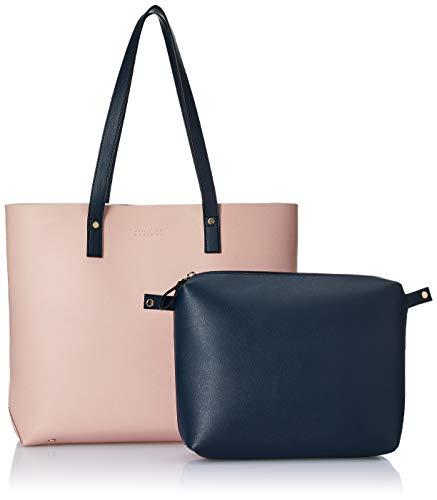 Amazon Brand - Symbol Handbag (Pink with Navy)