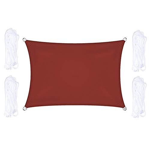 CENPENYA Velas de Sombra para Patio, Vela de Sombra Rectangular, Poliéster Toldo Resistente y Transpirable, con 4X Cuerdas de Fijación, para Jardín, Patio, Exteriores (5x7m,Rojo óxido)