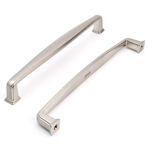 Koofizo Square Foot Cabinet Arch Pull - Nickel Furniture Handle, 6.3 Inch/160mm Screw Spacing, 10-Pack for Kitchen Cupboard Door, Bedroom Dresser Drawer, Bathroom Furniture Hardware